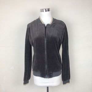 Vince Long Sleeve Velour Track Jacket Full Zipper